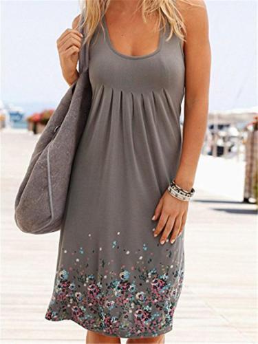 Comfy Loose Floral Print O-Neck Sleeveless Dresses