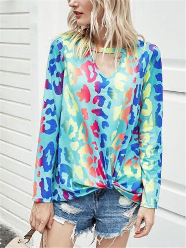 Stylish Print Cutout Detail Long Sleeve T Shirts