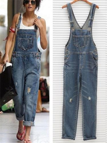Women's Fashion Sleeveless Ripped Denim Jumpsuits