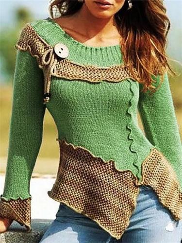 Slim Fit Round Neck Asymmetric Design Color Block Pullover Sweater
