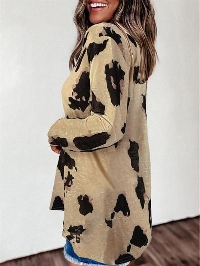 Casual Fit V Neck Leopard Pattern Short Sleeve T-Shirt