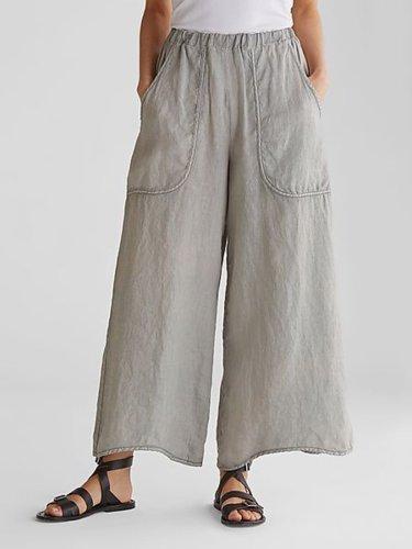 Casual Plain Pockets Linen Pants
