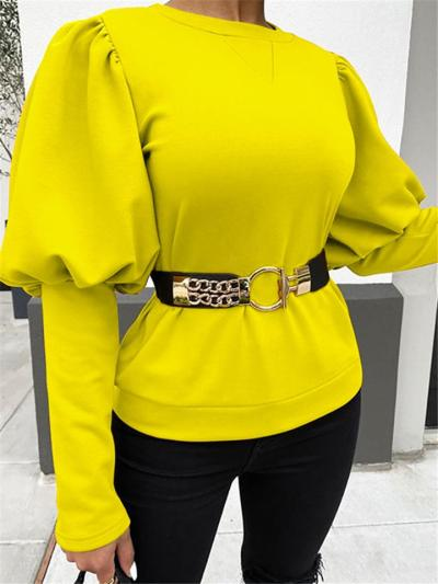Relaxed Fit Round Neck Solid Color Balloon Sleeve Pullover Tops