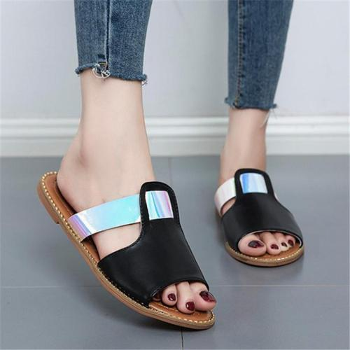 Comfortable Open-Toe Soft Footbed Lightweight Flat Slippers