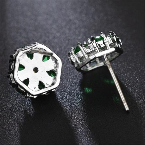 Charm Floral Beaded Silver Stud Earrings