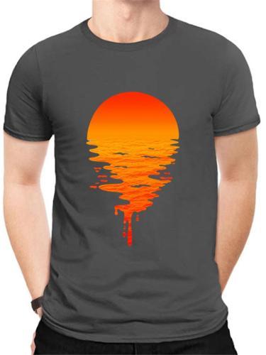 Creative Cotton Round Neck Sunset Pattern Short Sleeve Comfy T-Shirt