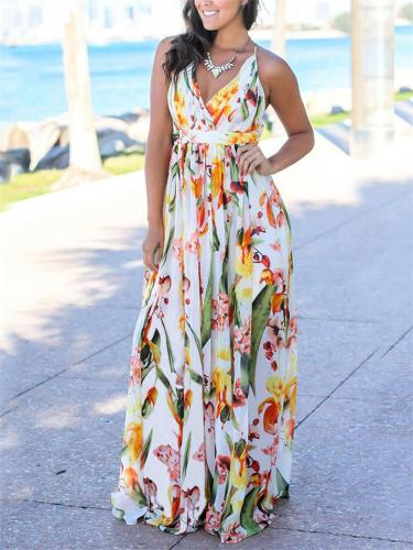 Floral Wrap Neck Ruched Fitted Waist Spaghetti Strap Maxi Dress