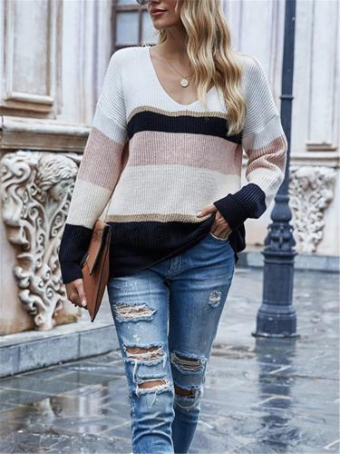 Cozy Color Block V Neck Knit Shirt