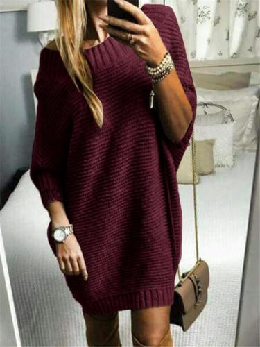 Relaxed Fit Round Neck Ribbed Knit Pullover Sweater Dress