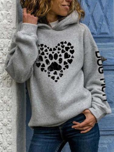 Stylish Heart Print Long Sleeve Hooded Sweat Shirts