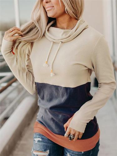 Slim Fit Color Block Drawstring Long Sleeve Sweatshirt