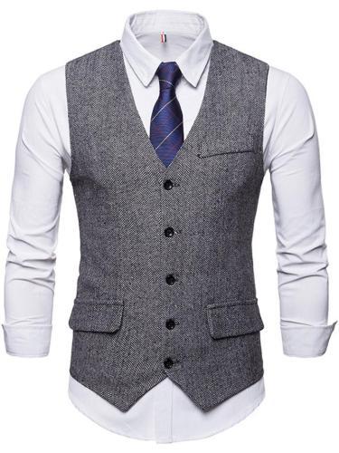 Men's Button Up Front Pocket Suit Vest with Adjustable Back Strap