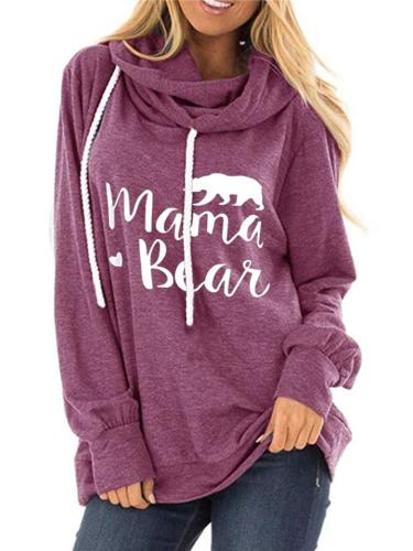Fashion Letter Print Hoodie With Draw Cord