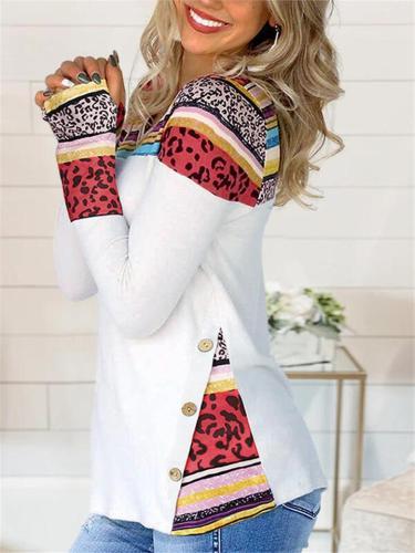 Regular Fit V Neck Leopard Button Long Sleeve Pullover Tops