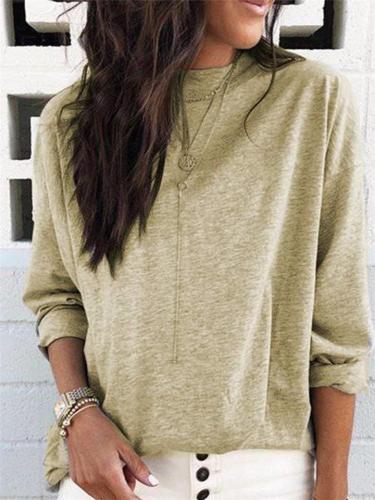 Daily Casual Solid Color Long-Sleeved T-shirt Top For Women