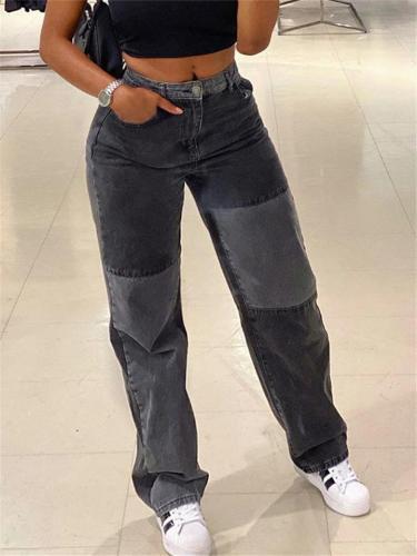 Stylish High-Rise Contrasting Button Up Multi-Pocket Denim Pants