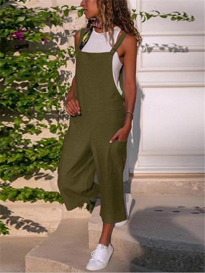 Cotton-Blend Square Neck Side-Pocket Straight-Leg Cropped Jumpsuit