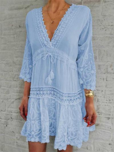 Fashionable Low V Neck Floral Printed Cutout Design 3/4 Sleeve Dress