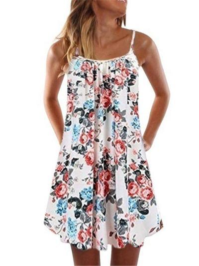 Fashion Square Neck Floral Printed Pleated Strappy Flare Midi Dress
