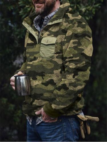 Extra Cozy Camouflage Printed Chest Flap Pocket Fur Sweater