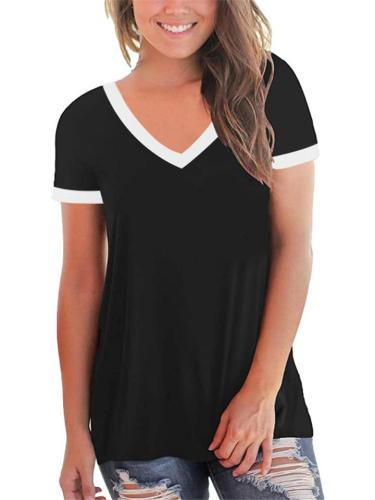 Laid-Back Look Simple Straight Hem Contrasting Trimming T-Shirt