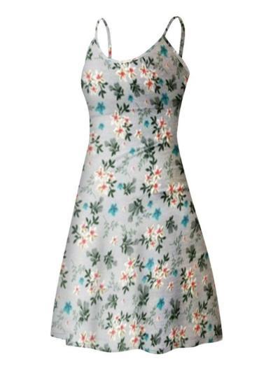 Slim Fit Square Neck Floral Printed Spaghetti Strap Bodycon Dress
