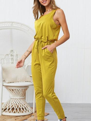 Casual Relaxed Fit Sporty Solid Color Sleeveless Jumpsuits