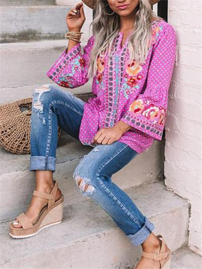 Relaxed Fit Notched V Neck Long Sleeve Floral Pattern Pullover Tops