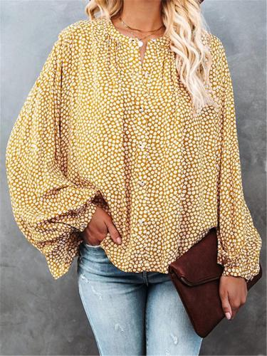Loose Fit V Neck Floral Printed Button Up Long Sleeve Blouse