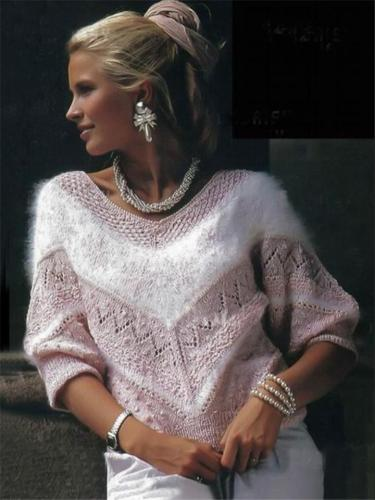 Pretty Pink Loose Batwing Fur Knitting Sweater