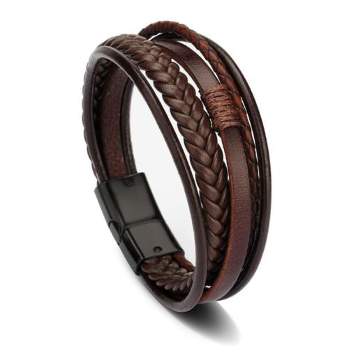 Men's Braided Magnetic Buckle Genuine Leather Bracelet with Alloy Ornament