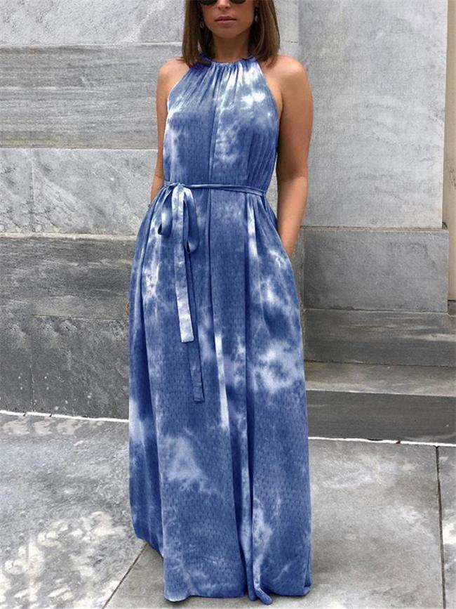 Fashionable Tie-Dye Halter Neck Sleeveless Waist Tie Pocket Maxi Dress