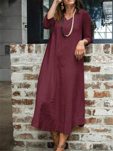 Loose Fit V Neck Long Sleeve Solid Color Pocket Maxi Dress