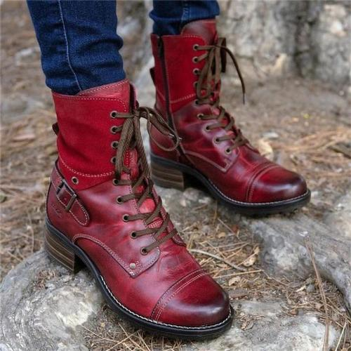 Vintage Style Ankle Harness Strap Lace-Up Block Heel Boots