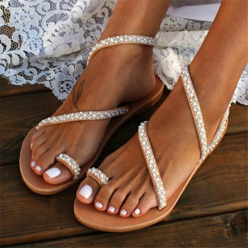 Women Handmade Pearl Beach Sandals