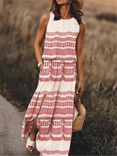 Summer Sleeveless Printed Maxi Dresses