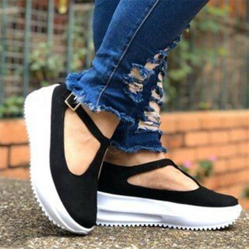 Casual Style Thick-Sole Flat Heel Buckle Strap Non-Slip Loafers