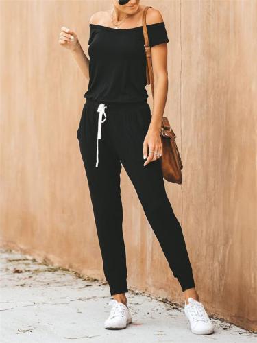 Fresh Feeling Off Shoulder Waist Drawstring Black Straight-Leg Jumpsuit