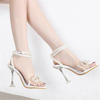 Sexy Pretty Open-Toe Floral Deco Ankle-Strap Ultra-High Heel Sandals