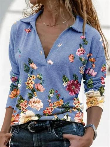 Casual Style V Neck Lapel Collar Floral Printed Pullover Tops