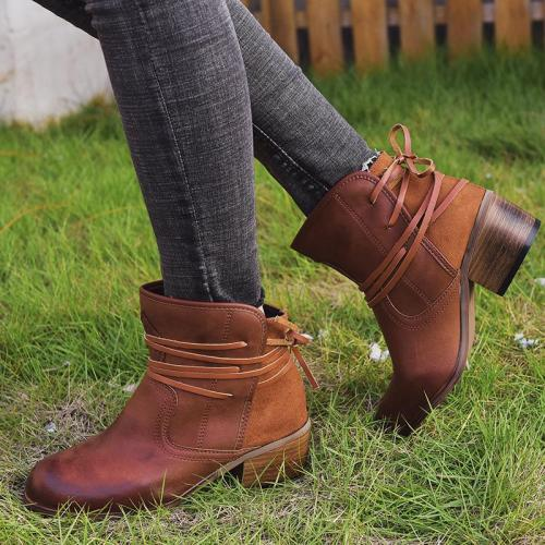 Fashion Back Lace-Up Chunky Heel Boots