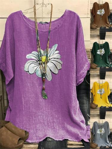 Oversized Floral Print V Neck Short Sleeve Loose Shirt
