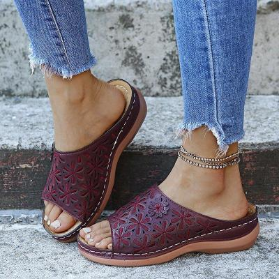 Stylish Floral Pattern Open-Toe Soft Footbed Wedge Heel Slippers