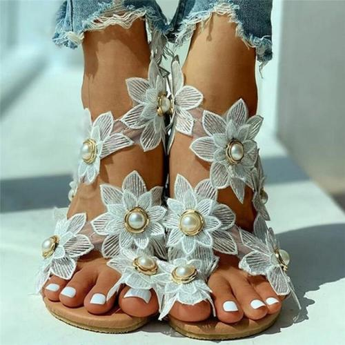 Women Sun Flower Faux Pearl Decor Comfy Casual Clip Toe Flat Sandals