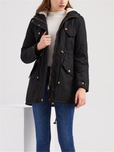 Full Zipper Waist Drawstring Side Pocket Thicken Hooded Cotton Coat