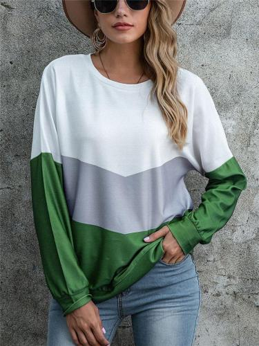 Casual Fit Round Neck Color Block Long Sleeve Pullover Tops
