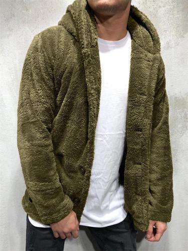 Mens Hooded Fleeces Woollen Sweater Cardigan Outerwear