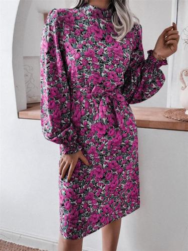 Stylish High Neck Long Sleeve Elastic Cuff Floral Pattern Chiffon Midi Dress