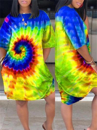 Tie-Dye Multicolor Crew Neck Asymmetric Hem Short Sleeve Shirt Dress
