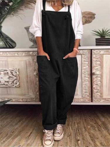 Vintage Style Square Neck Adjustable Strap Cotton Linen Pocket Overalls